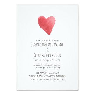 Fiesta de compromiso rojo minimalista del corazón invitación 12,7 x 17,8 cm