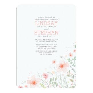 Fiesta de compromiso rosado de la acuarela de las invitación 12,7 x 17,8 cm