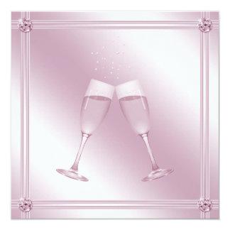 Fiesta de compromiso rosado de los vidrios y de invitación 13,3 cm x 13,3cm