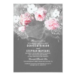 Fiesta de compromiso rosado del rosa y blancas de invitación 12,7 x 17,8 cm