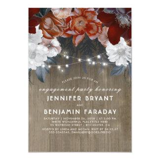 Fiesta de compromiso rústico de las luces florales invitación 12,7 x 17,8 cm