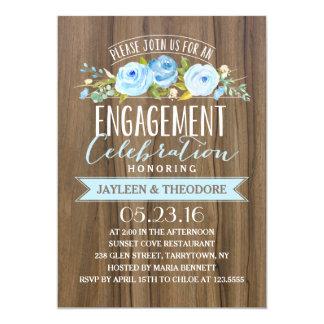 Fiesta de compromiso rústico del compromiso el | invitación 12,7 x 17,8 cm