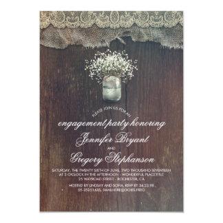 Fiesta de compromiso rústico del tarro de albañil invitación 12,7 x 17,8 cm