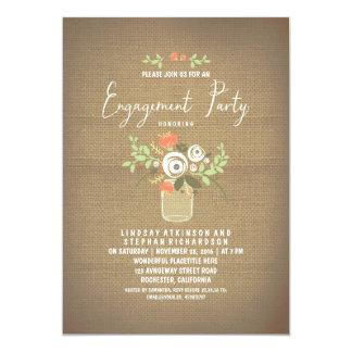 Fiesta de compromiso rústico floral de la invitación 12,7 x 17,8 cm