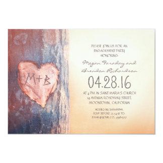 Fiesta de compromiso tallado rústico del árbol del invitación 12,7 x 17,8 cm