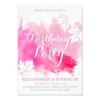 Fiesta de cumpleaños abstracta moderna del rosa de invitación 12,7 x 17,8 cm