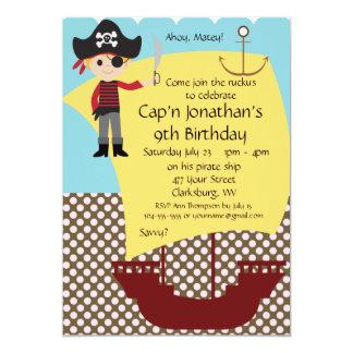 Fiesta de cumpleaños adaptable del barco pirata invitación 12,7 x 17,8 cm