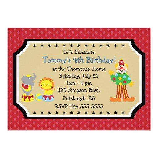 Fiesta de cumpleaños adaptable del circo anuncios personalizados