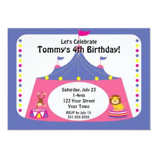 Fiesta de cumpleaños adaptable del circo invitación 12,7 x 17,8 cm