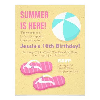 Fiesta de cumpleaños adolescente de la playa del invitación 10,8 x 13,9 cm