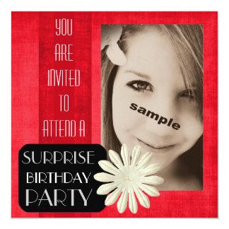 ¡Fiesta de cumpleaños adolescente de la sorpresa Invitación 13,3 Cm X 13,3cm