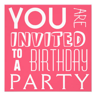 Fiesta de cumpleaños adolescente de la tipografía invitación personalizada