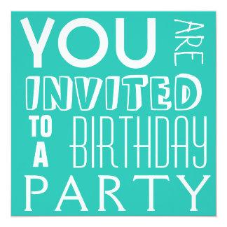 Fiesta de cumpleaños adolescente de la tipografía invitación 13,3 cm x 13,3cm