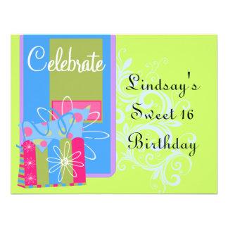 Fiesta de cumpleaños adolescente de los chicas invitacion personal