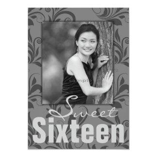Fiesta de cumpleaños adolescente del damasco invitación 12,7 x 17,8 cm