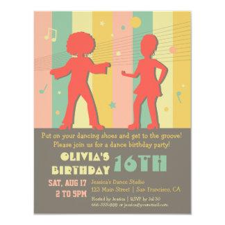 fiesta de cumpleaños adolescente retra de la danza invitación 10,8 x 13,9 cm