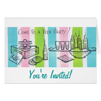 Fiesta de cumpleaños adolescente retra tarjeta de felicitación