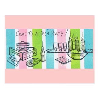 Fiesta de cumpleaños adolescente retra tarjetas postales