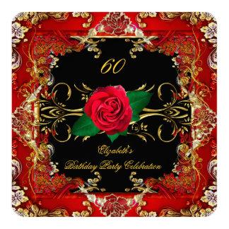 Fiesta de cumpleaños adornada de los rosas rojos invitación 13,3 cm x 13,3cm