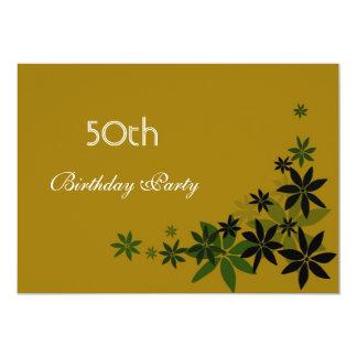 Fiesta de cumpleaños adulta de las hojas florales comunicados personalizados