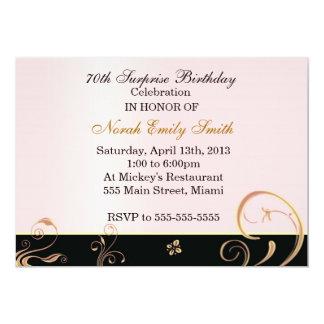 Fiesta de cumpleaños adulta del oro coralino invitación 12,7 x 17,8 cm