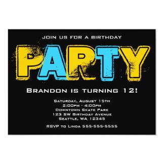 Fiesta de cumpleaños amarilla y azul del Grunge Invitación 12,7 X 17,8 Cm