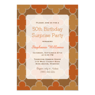 Fiesta de cumpleaños anaranjada retra de la invitación 12,7 x 17,8 cm