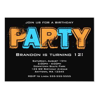 Fiesta de cumpleaños anaranjada y azul del Grunge Invitación 12,7 X 17,8 Cm