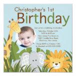 Fiesta de cumpleaños animal del niño de la selva invitación 13,3 cm x 13,3cm
