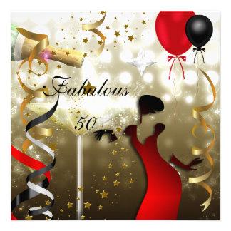 Fiesta de cumpleaños atractiva cincuenta de señora invitaciones personalizada