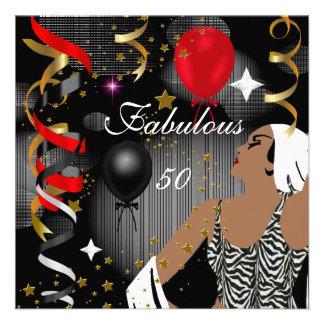 Fiesta de cumpleaños atractiva cincuenta de señora anuncio