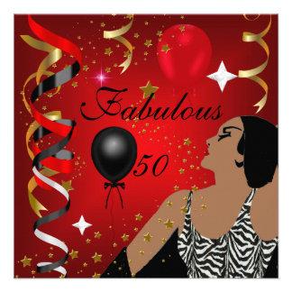 Fiesta de cumpleaños atractiva cincuenta de señora comunicado personalizado