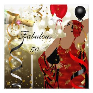 Fiesta de cumpleaños atractiva cincuenta de señora invitación