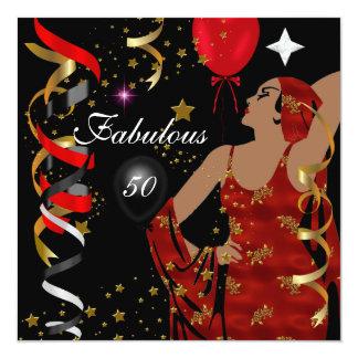 Fiesta de cumpleaños atractiva cincuenta de señora invitación 13,3 cm x 13,3cm