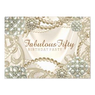 Fiesta de cumpleaños atractiva de la perla invitación 11,4 x 15,8 cm