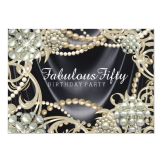 Fiesta de cumpleaños atractiva de la perla invitación 12,7 x 17,8 cm