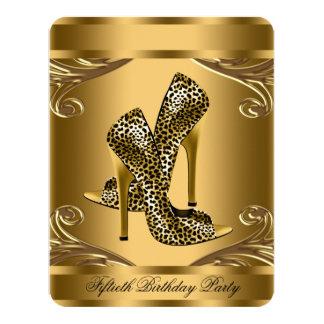 Fiesta de cumpleaños atractiva del negro y del oro invitación 10,8 x 13,9 cm