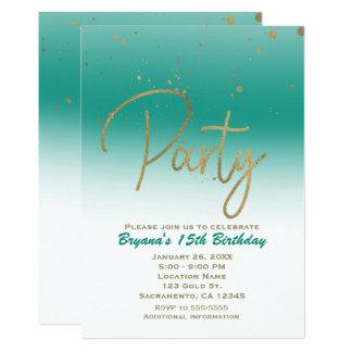 Fiesta de cumpleaños atractiva moderna del confeti invitación 12,7 x 17,8 cm