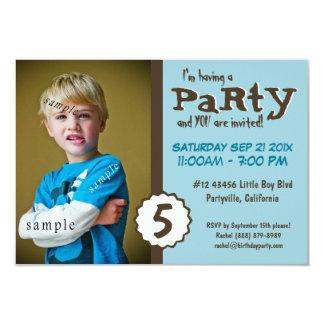 Fiesta de cumpleaños azul de Brown de la foto Invitación 8,9 X 12,7 Cm