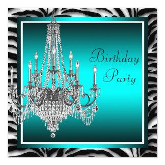 Fiesta de cumpleaños azul de la lámpara de la invitación 13,3 cm x 13,3cm