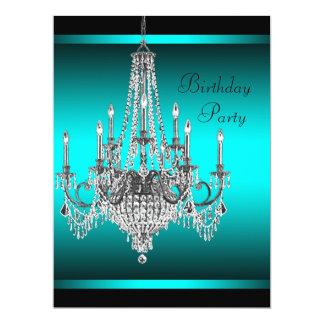 Fiesta de cumpleaños azul de la lámpara del trullo invitación 16,5 x 22,2 cm