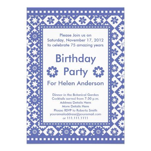Fiesta de cumpleaños azul de la mujer y blanca bon anuncios personalizados