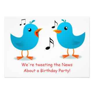 Fiesta de cumpleaños azul de la serenata de los pá comunicado personalizado