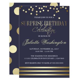 Fiesta de cumpleaños azul de la sorpresa de la invitación 8,9 x 12,7 cm