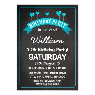 Fiesta de cumpleaños azul de los corazones del invitación 12,7 x 17,8 cm