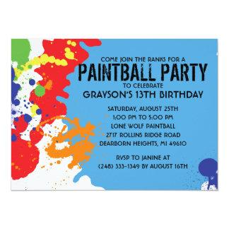 Fiesta de cumpleaños azul de Paintball de la Invitación 13,9 X 19,0 Cm