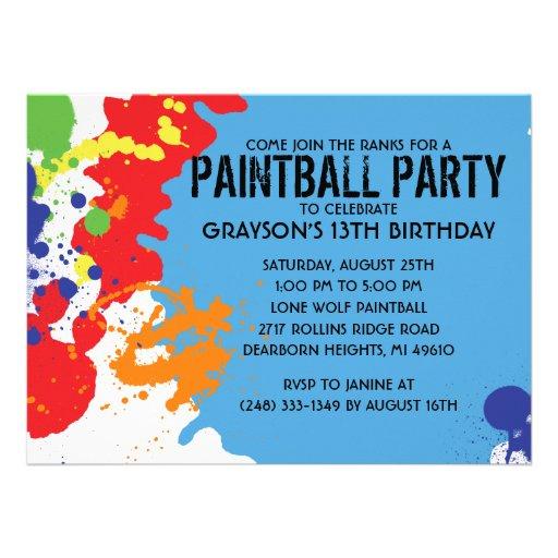 Fiesta de cumpleaños azul de Paintball de la salpi Invitaciones Personalizada