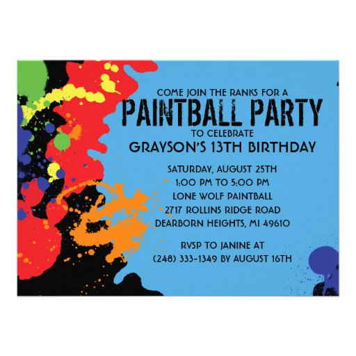 Fiesta de cumpleaños azul de Paintball de la salpi Anuncios