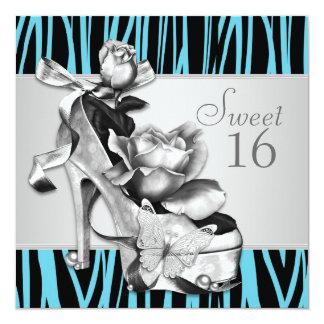 Fiesta de cumpleaños azul del dulce 16 de la cebra invitación 13,3 cm x 13,3cm