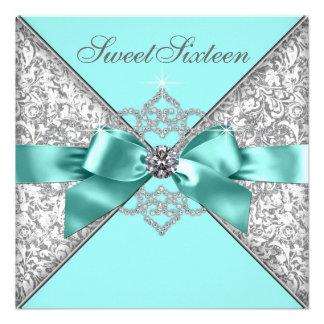 Fiesta de cumpleaños azul del dulce 16 del trullo invitación